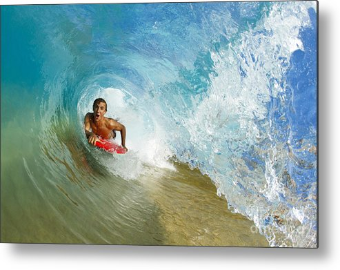 Action Metal Print featuring the photograph Inside Wave Tube by MakenaStockMedia - Printscapes