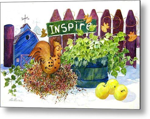 Rooster;barn;apples;ivy;fence;inspiration;country;still Life; Metal Print featuring the painting Inspire by Lois Mountz