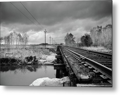 Railroad Tracks Metal Print featuring the photograph Into The Distance by Matthew Angelo