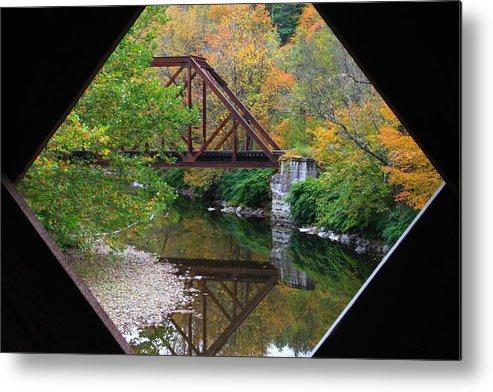 Covered Bridge Metal Print featuring the photograph Iron Railroad Bridge From Worrall Covered Bridge by John Burk