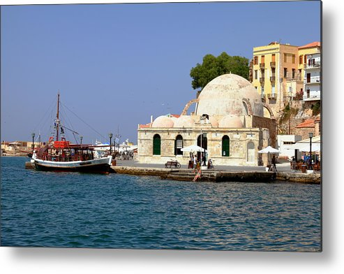 Chania Metal Print featuring the photograph Janissaries Mosque And Caique In Chania by Paul Cowan