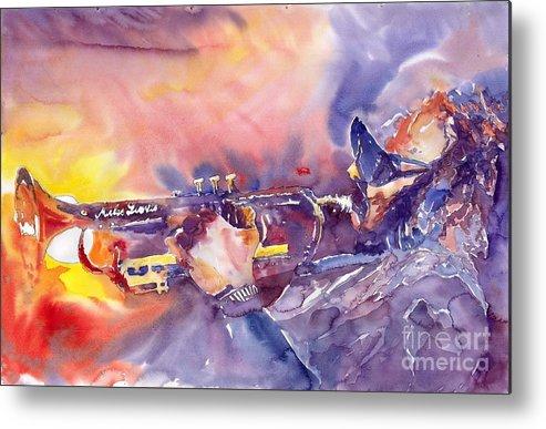 Jazz Watercolor Miles Davis Music Musician Trumpeter Figurative Watercolour Metal Print featuring the painting Jazz Miles Davis Electric 1 by Yuriy Shevchuk
