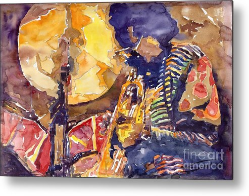 Miles Davis Figurative Jazz Miles Music Musiciant Trumpeter Watercolor Watercolour Metal Print featuring the painting Jazz Miles Davis Electric 2 by Yuriy Shevchuk