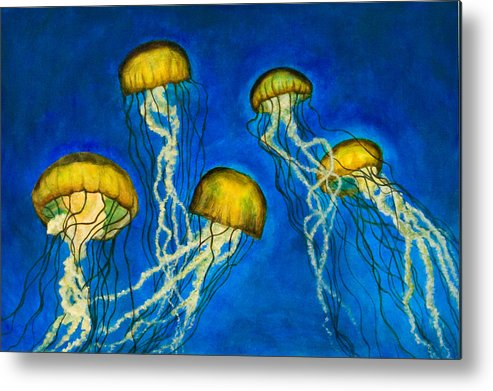 Jellyfish Metal Print featuring the painting Jellyfish by Julia Collard