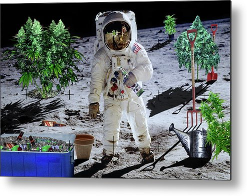 Moon Metal Print featuring the digital art Just Call Me Buzz by John Scariano