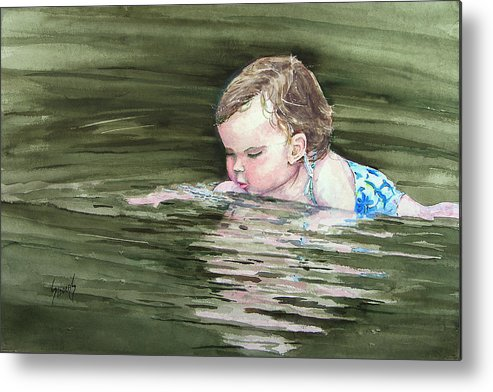 Child In River Metal Print featuring the painting Katie Wants A River Rock by Sam Sidders