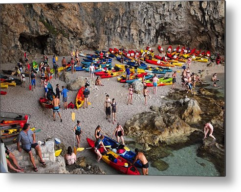 Dubrovnik Metal Print featuring the photograph Kayaks On A Beach by Piotr Kuzniar