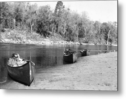 River Metal Print featuring the photograph Kerr Lake Canoes by Steven Crown