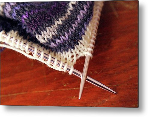 Knitting Metal Print featuring the photograph Knitting by Annee Olden