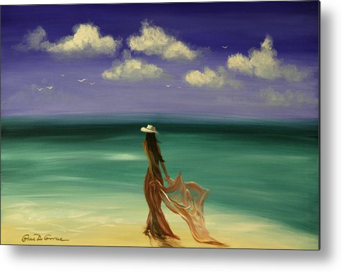Nice Metal Print featuring the painting Lady In Red by Gina De Gorna