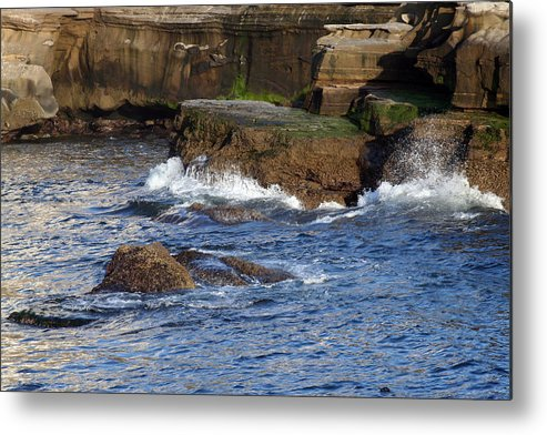 Ocean Metal Print featuring the photograph Lajolla Rocks by Margie Wildblood