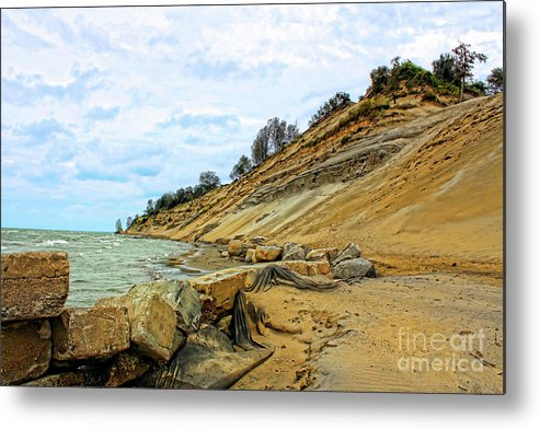 Nature Metal Print featuring the photograph Lake Erie Shoreline by Cathy Beharriell
