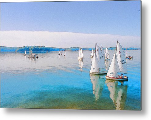 Water Metal Print featuring the digital art Lake Lanier by Randy Sprout