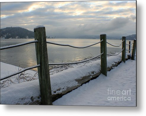 Fence Metal Print featuring the photograph Lake Snow by Idaho Scenic Images Linda Lantzy
