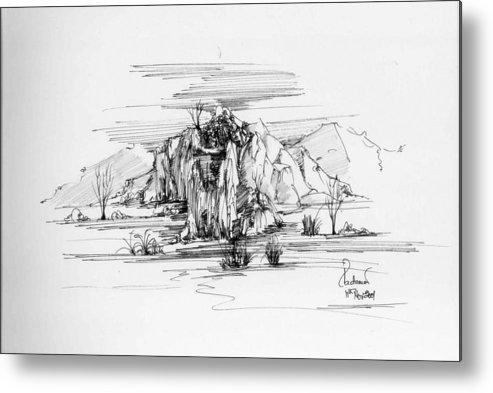Landscape Metal Print featuring the drawing Landscape In Pen by Padamvir Singh