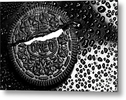 Cookie Metal Print featuring the photograph Large Oreo Black And White by Nancy Mueller