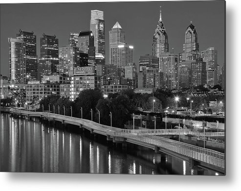 Philadelphia Metal Print featuring the photograph Late Night Philly Grayscale by Frozen in Time Fine Art Photography