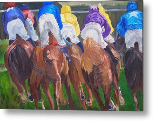 Horse Racing Metal Print featuring the painting Leading The Pack by Michael Lee