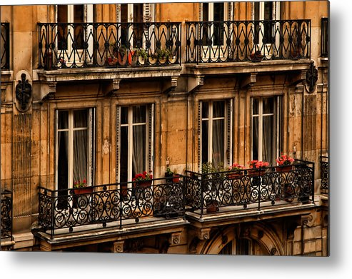 Paris Metal Print featuring the photograph Left Bank Balconies by Mick Burkey