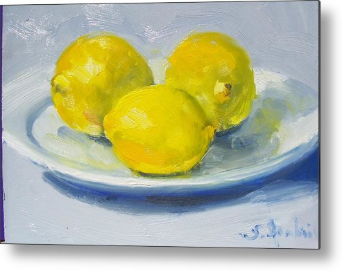 Still Life Metal Print featuring the painting Lemons On A White Plate by Susan Jenkins