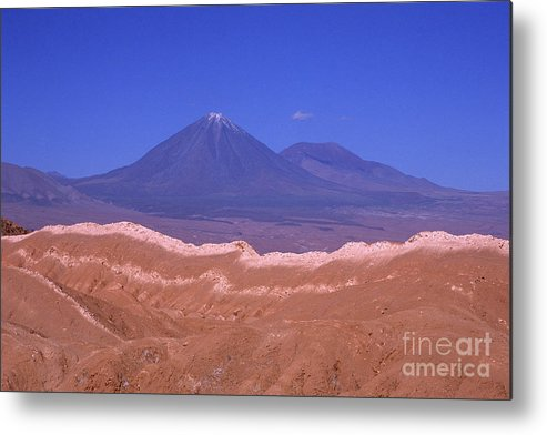 Chile Metal Print featuring the photograph Licancabur Volcano Seen From The Atacama Desert Chile by James Brunker
