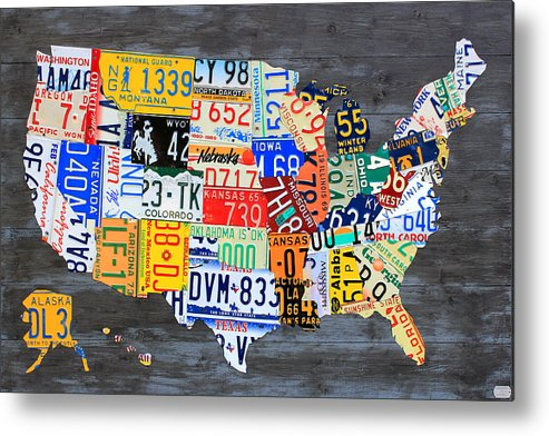 License Plate Map Metal Print featuring the mixed media License Plate Map Of The Usa On Gray Distressed Wood Boards by Design Turnpike