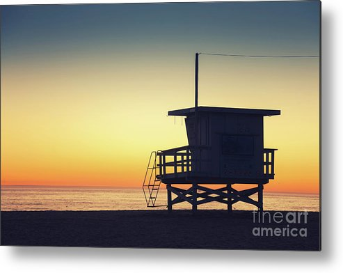 Lifeguard Metal Print featuring the photograph Lifeguard Tower At Sunset by Konstantin Sutyagin