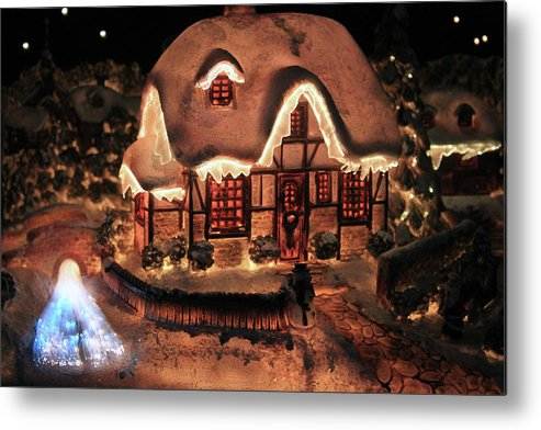 Abstract Metal Print featuring the photograph Lighted Christmas House by Didart Collection