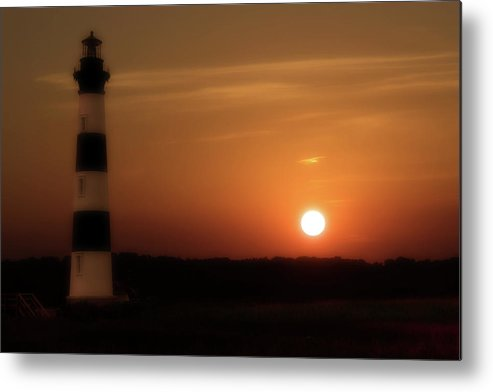 Beach Metal Print featuring the photograph Lighthouse At Sunset by Randy Steele
