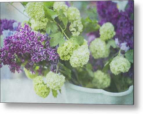 Lilacs Metal Print featuring the photograph Lilacs And Snowballs by Rebecca Cozart
