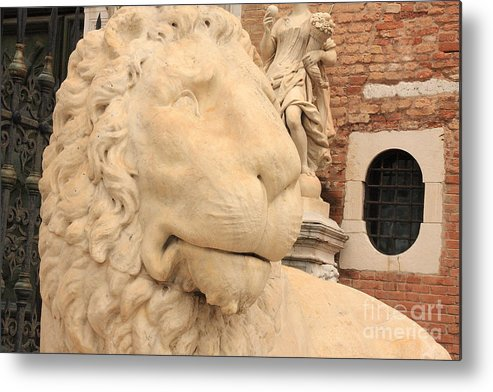 Venice Metal Print featuring the photograph Lion Head In Venice by Michael Henderson