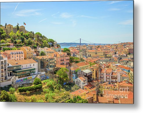 Lisbon Metal Print featuring the photograph Lisbon Aerial View by Benny Marty