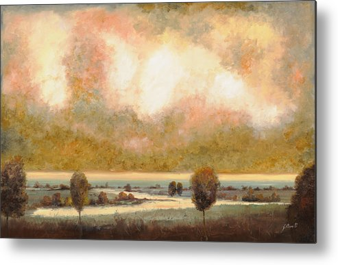 Pond Metal Print featuring the painting Lo Stagno Sotto Al Cielo by Guido Borelli