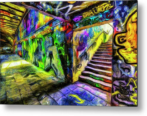 Leake Street Graffiti Metal Print featuring the photograph London Graffiti Van Gogh by David Pyatt