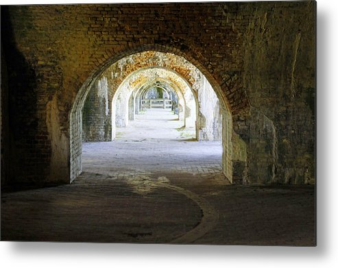 Fort Metal Print featuring the photograph Long Hall At Fort Pickens by Laurie Perry