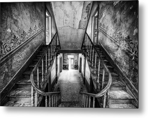 Castle Metal Print featuring the photograph Lost Glory Staircase - Abandoned Castle by Dirk Ercken