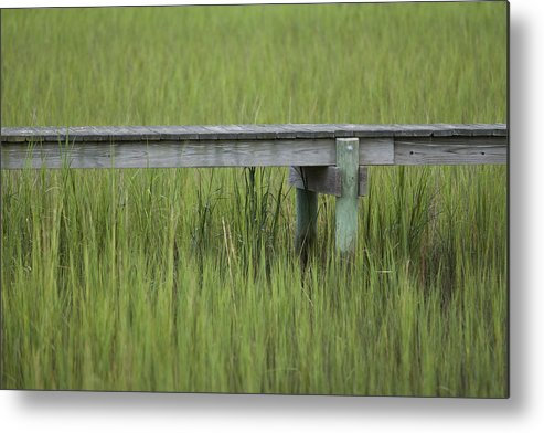Lowcountry Metal Print featuring the photograph Lowcountry Dock Over Marsh Grass by Dustin K Ryan