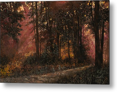 Wood Metal Print featuring the painting Luci Nel Bosco by Guido Borelli