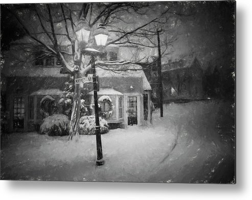 Marblehead Metal Print featuring the photograph Mablehead Market Square Snowstorm Old Town Evening Black And White Painterly by Toby McGuire
