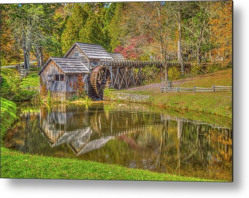 Blue Ridge Mountains Metal Print featuring the photograph Mabry Mill Reflections by Tom Weisbrook
