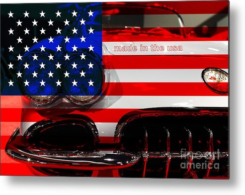 1956 Chevy Corvette Metal Print featuring the photograph Made In The Usa . Chevy Corvette by Wingsdomain Art and Photography