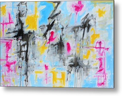 Painting Metal Print featuring the painting Magenta Abstract II by Michael Henderson