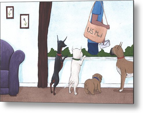 Dogs Metal Print featuring the painting Mailman by Christy Beckwith