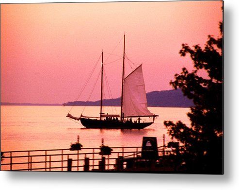America's Cup Metal Print featuring the photograph Malabar X Sailboat At Sunset by Roger Soule