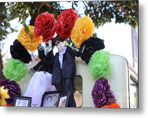 Dia De Los Muertos Metal Print featuring the photograph Male Female Color Doll Skeleton by Chuck Kuhn