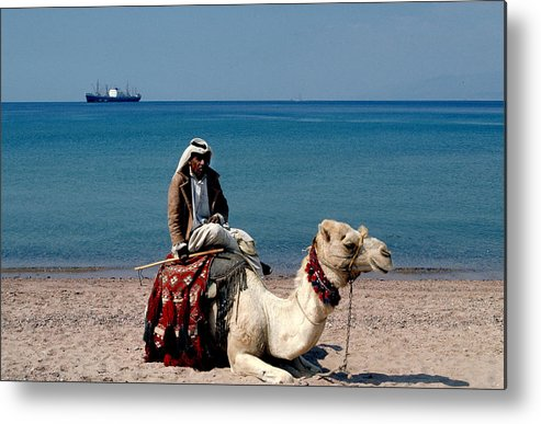 Dromedary Metal Print featuring the photograph Man With Camel At Red Sea by Carl Purcell