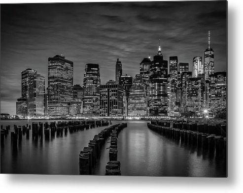 New York Metal Print featuring the photograph Manhattan Skyline Evening Atmosphere - Monochrome by Melanie Viola