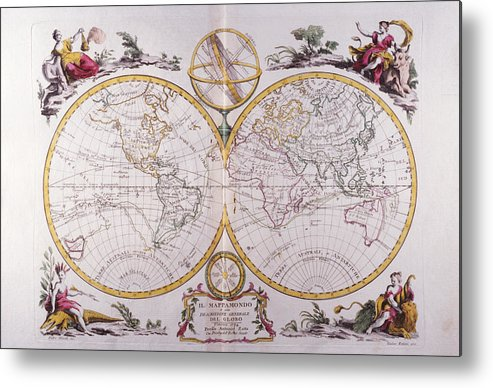 Horizontal Metal Print featuring the digital art Map Of The World by Fototeca Storica Nazionale