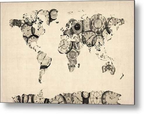 World Map Metal Print featuring the digital art Map Of The World Map From Old Clocks by Michael Tompsett