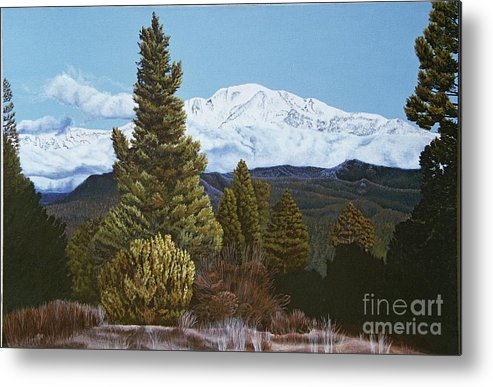Landscape Metal Print featuring the painting Marion Mountain In Winter by Jiji Lee